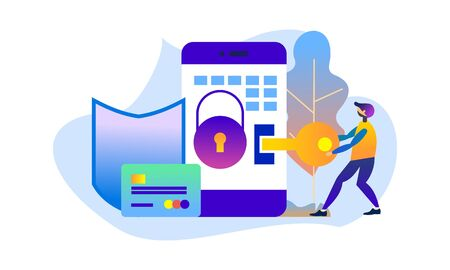 Cyber security software concept vector. Landing page website Ilustrace