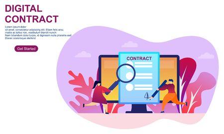 Landing page contract digital internet blue solid illustration