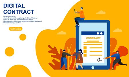 Landing page contract digital internet blue solid illustration