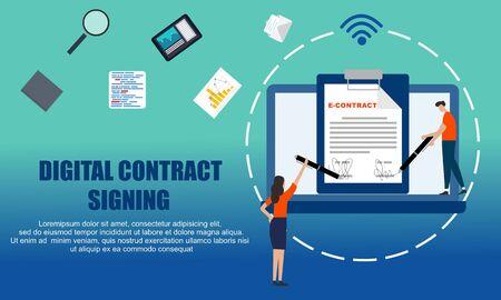 Landing page contract digital internet blue solid illustration Vector Illustration