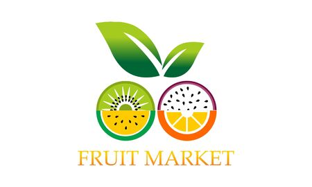collection Eco fruit logo vector image illustration Ilustrace