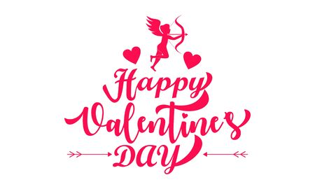 Happy valentines day cupid or angel illustration