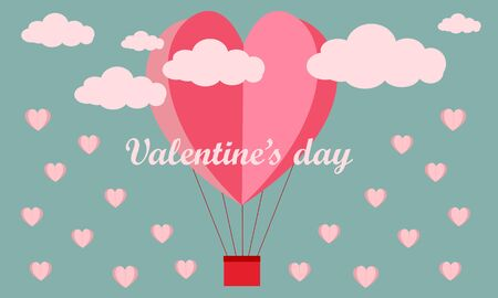 Happy valentines day card template with heart shaped illustration