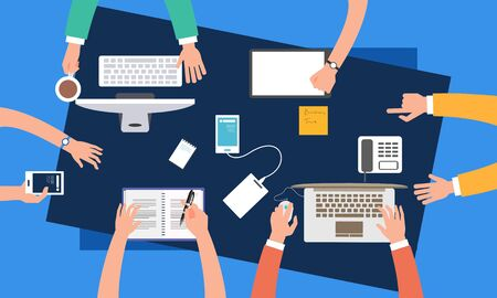 Brainstorming teamwork, business meeting illustration design vector Vektorgrafik
