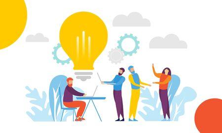 Travail d'équipe de remue-méninges, vecteur de conception d'illustration de réunion d'affaires