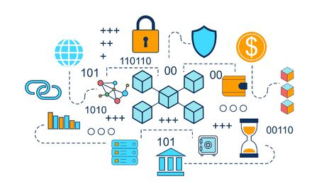 Blockchain-Infografik-Konzept, Business-Technologie-Illustrationsvektor
