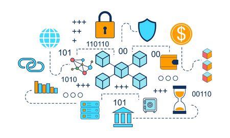 Concepto de infografía blockchain, vector de ilustración de tecnología empresarial