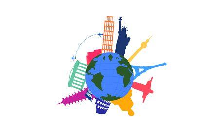 Travel agency creative symbol concept vector image illustration Ilustracja