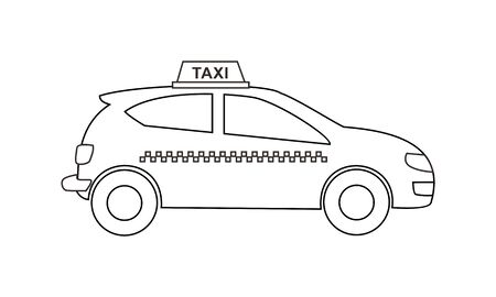 taxi coloring book transportation to educate kids. Learn colors pages