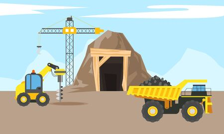 Mining industry flat composition with coal loading by excavator to truck on factory background vector illustration Ilustração