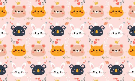Seamless pattern with farm animal logo illustration Vectores