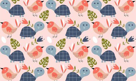 Seamless pattern with farm animal logo illustration Illustration