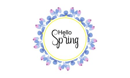 Hello spring text vector banner greetings design with colorful flower elements like daisy and sunflower in green floral background for spring season. Vector illustration. Иллюстрация