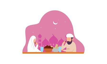 Delicious menu for iftar party are on the table with teapot illustration