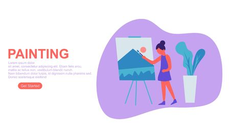 Girl enjoying their hobbies painting vector flat illustration