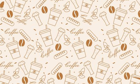 Seamless element pattern of coffee icons background illustration