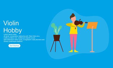 Girl enjoying their hobbies violin vector flat illustration Ilustrace