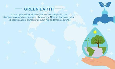 Flaches Design Pflanzen Ökologie grüne Welt Konzept Zusammensetzung Illustration