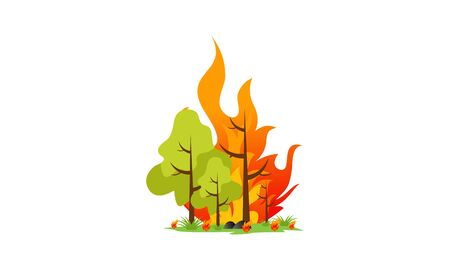 Forest fire natural disaster concept vector illustration