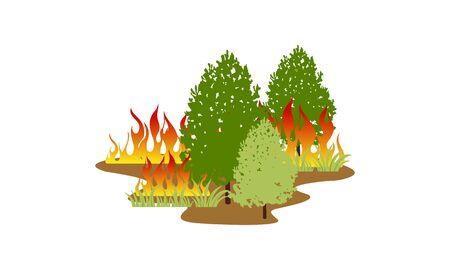 Ilustración de vector de concepto de desastre natural de incendio forestal