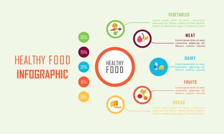 Infographic healthy food, sport and wellness template vector illustration Illustration
