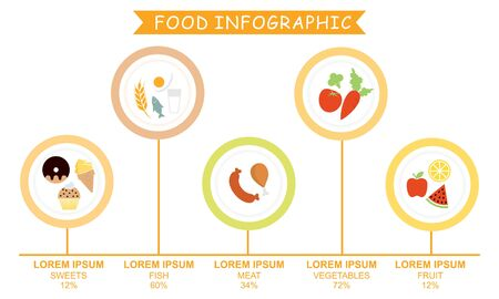 Infographic healthy food, sport and wellness template vector illustration  イラスト・ベクター素材