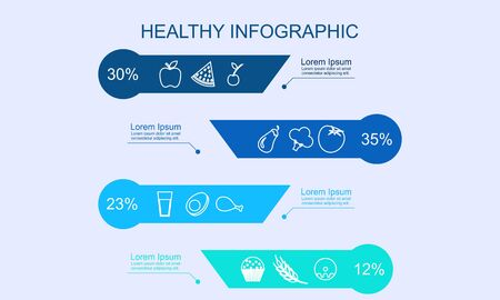 Infographic healthy food, sport and wellness template vector illustration
