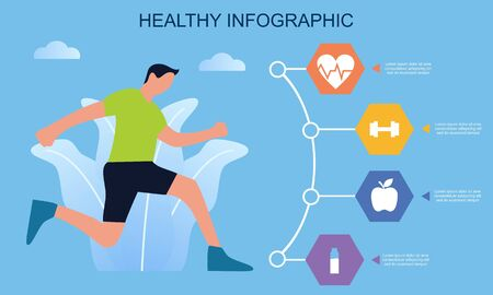 Infographic healthy food, sport and wellness template vector illustration Vettoriali
