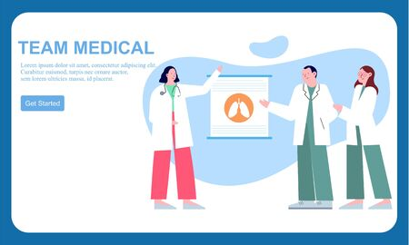 Medical team doctor and group of business people illustration