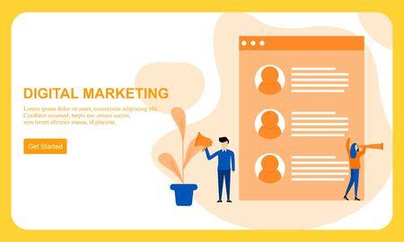 Digital marketing SMM, influencer online advertising vector illustration
