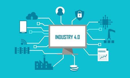 Illustration de conception plate de révolution d'illustration de l'industrie 4.0 Vecteurs