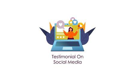 Flat design digital marketing SMM, influencer online advertising vector illustration Illustration
