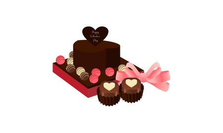 Box of chocolates in shape of heart. Sweet romantic gift for valentine day 写真素材 - 139999064