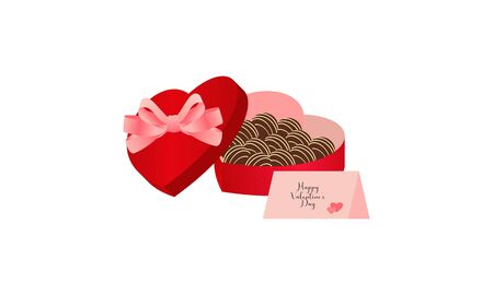 Box of chocolates in shape of heart. Sweet romantic gift for valentine day