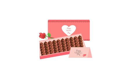 Box of chocolates in shape of heart. Sweet romantic gift for valentine day 写真素材 - 139999089