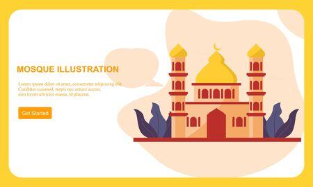 Islamic Mosque Building Flat Design Vector Illustration