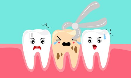 Dental mascot, tooth mascot care concept clean and dirty tooth vector illustration