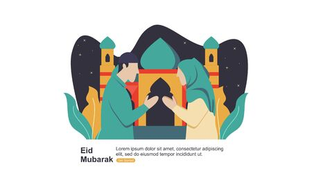 Happy eid mubarak, ramadan mubarak greeting concept with people character illustration Foto de archivo - 140898994