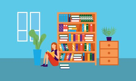 Library books and people reading in bookshop vector flat design