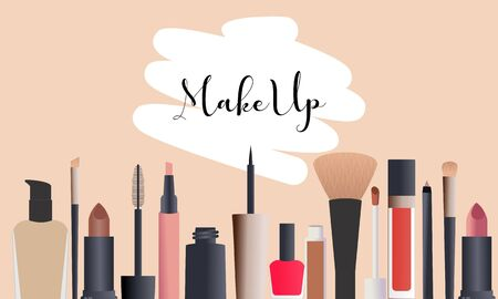 Makeup beauty and cosmetics icons vector illustration Ilustracja