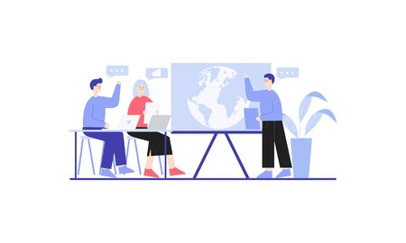 Employees discussing, business concept in office with people character illustration 일러스트