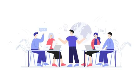 Employees discussing, business concept in office with people character illustration Иллюстрация