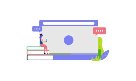 Landing page of Online education modern. Learning and people concept illustration 向量圖像