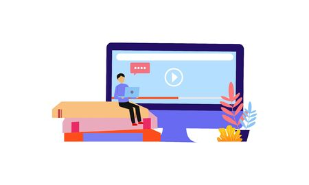 Landing page of Online education modern. Learning and people concept illustration Stock Illustratie