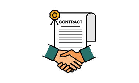 Handshake logo icon for business agreement, deal, contract and partnership logo