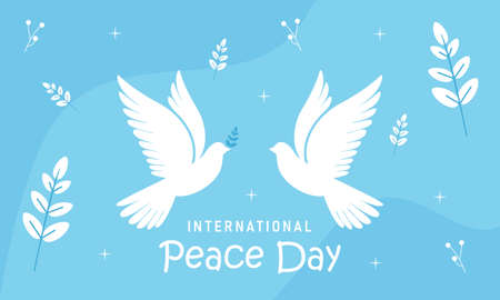 International day of peace with dove. Peace day background with dove