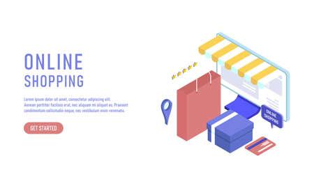 Online shopping isometric, e-commerce concept illustration