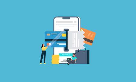 Flat design payment gateway illustration concept