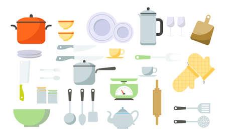 Modern various kitchen tools flat icon set logo