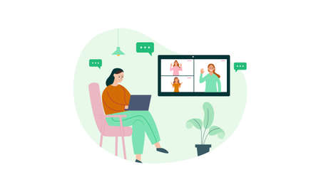 Business people having video conference with colleagues while staying at home illustration